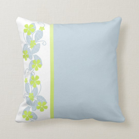 Blue-Gray Accent Pillow with Chartreuse Flowers