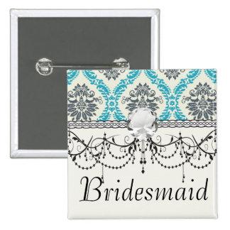blue gray and cream elegant damask 2 inch square button