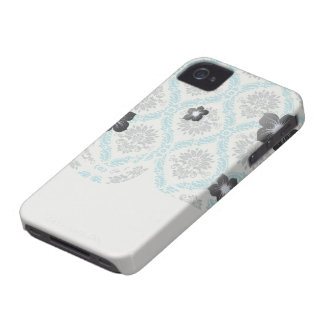 blue gray and cream elegant damask Case-Mate iPhone 4 case