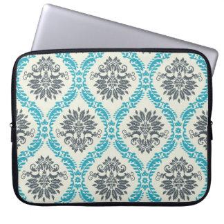 blue gray and cream elegant damask computer sleeve