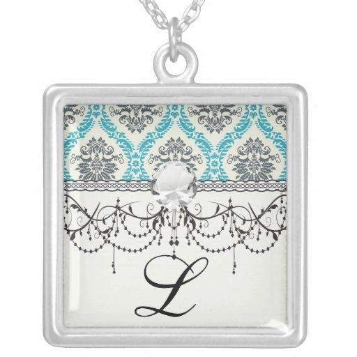 blue gray and cream elegant damask custom jewelry