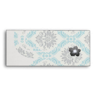 blue gray and cream elegant damask envelope
