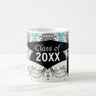 blue gray and cream elegant damask graduation mugs