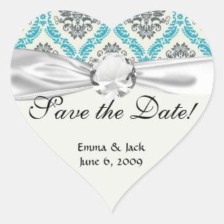 blue gray and cream elegant damask heart sticker