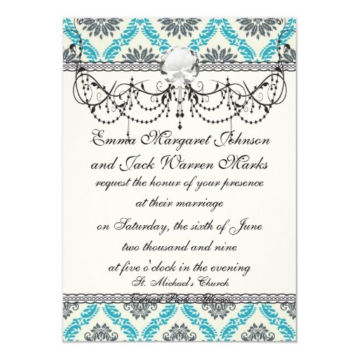 blue gray and cream elegant damask custom announcements