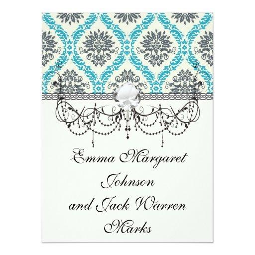 blue gray and cream elegant damask 6.5x8.75 paper invitation card