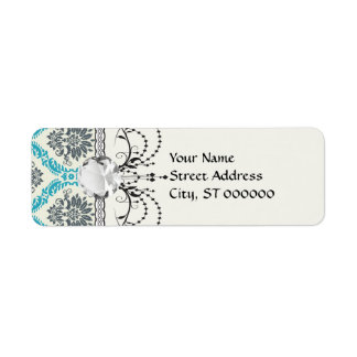 blue gray and cream elegant damask label