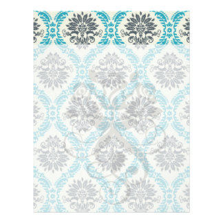 blue gray and cream elegant damask letterhead