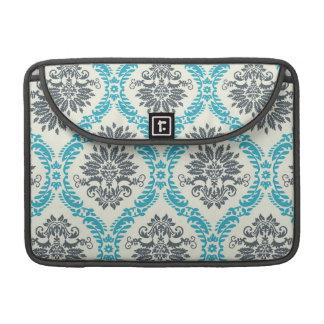 blue gray and cream elegant damask MacBook pro sleeve