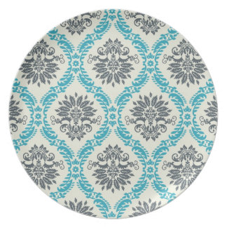 blue gray and cream elegant damask melamine plate
