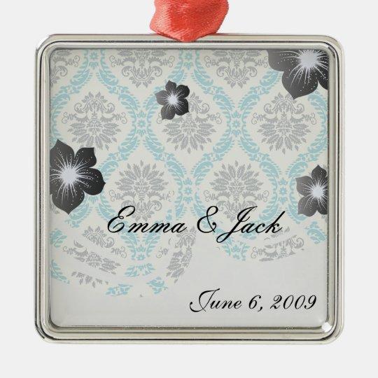 blue gray and cream elegant damask metal ornament