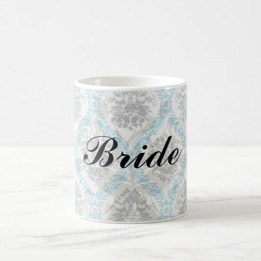 blue gray and cream elegant damask mug