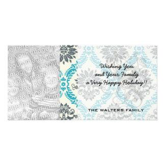blue gray and cream elegant damask photo card