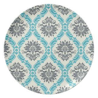 blue gray and cream elegant damask dinner plate