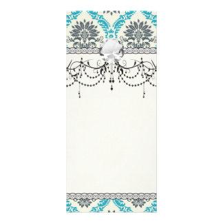 blue gray and cream elegant damask full color rack card