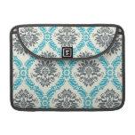 blue gray and cream elegant damask sleeves for MacBooks