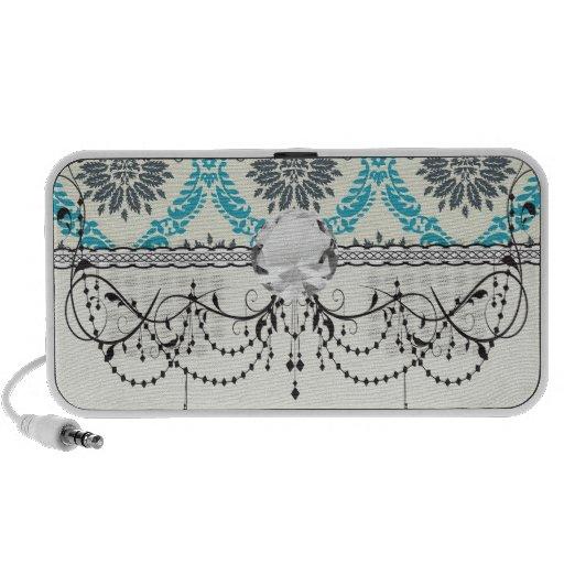blue gray and cream elegant damask portable speakers
