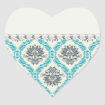 blue gray and cream elegant damask stickers