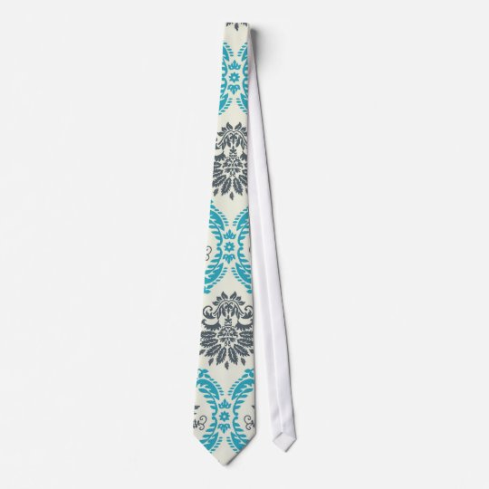 blue gray and cream elegant damask tie