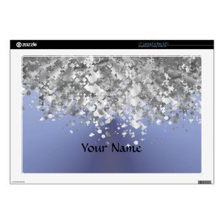 Blue gray and faux glitter laptop decals
