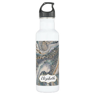 Blue Gray and Gold Marble Effect Personalized Water Bottle