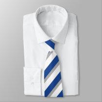 Blue Gray and White Diagonally-Striped Tie