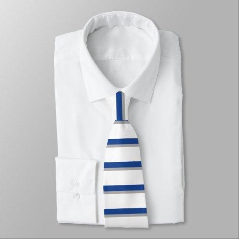 Blue Gray and White Horizontally-Striped Tie