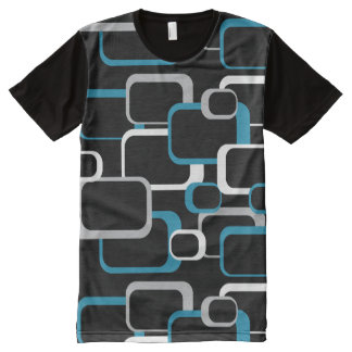 Blue Gray and White Retro Squares All-Over-Print T-Shirt