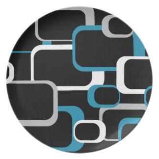 Blue, Gray and White Retro Squares Plate
