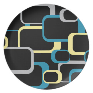Blue, Gray and Yellow Retro Square Plate