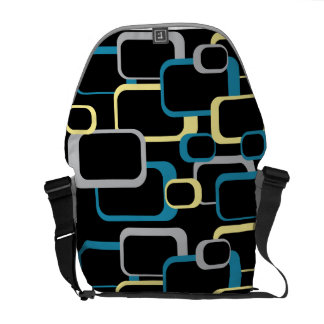Blue, Gray and Yellow Retro Square Rickshaw Messen Courier Bags