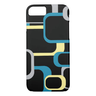 Blue Gray and Yellow Retro Squares iPhone 7 Case