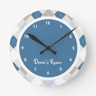 Blue & Gray Argyle Kid's Bedroom Round Wall Clock