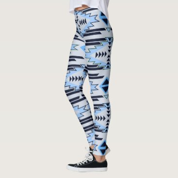 Aztec Themed Blue Gray Aztec Tribal Pattern Leggings