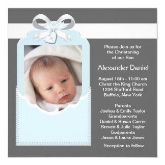 Blue Gray Baby Boy Photo Christening Card
