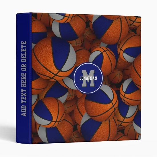 blue gray basketballs kids back to school 3 ring binder
