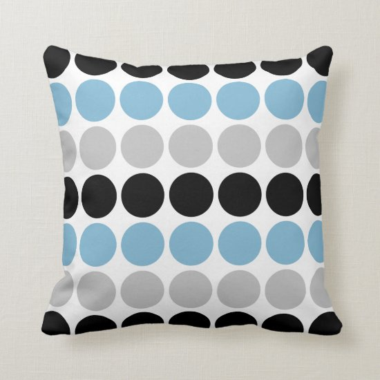 Blue Gray Black Retro Circles Pattern Throw Pillow
