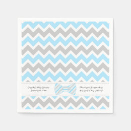 Blue Gray bow tie Baby Shower ADD YOUR WORDING Paper Napkin