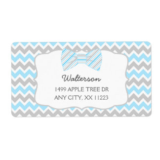 Blue Gray Bow tie baby shower address labels