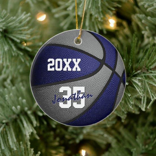 blue gray boys girls basketball team memento ceramic ornament