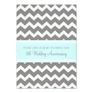 Blue Gray Chevron 5th Anniversary Invitation