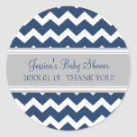 Blue Gray Chevron Baby Shower Favor Stickers