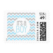 Blue Gray Chevron Baby Shower It's a boy Postage