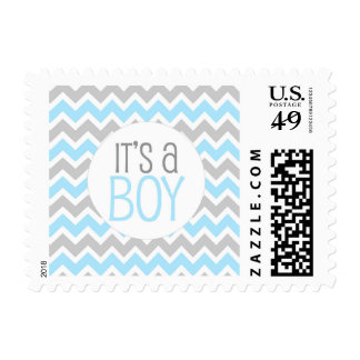 Blue Gray Chevron Baby Shower It's a boy Postage
