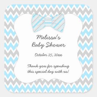 Blue Gray Chevron bow tie boy baby shower favor Square Sticker
