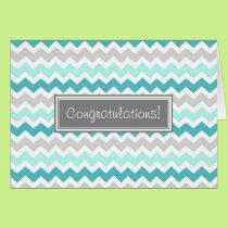 Blue Gray Chevron Congratulations New Baby Boy Card