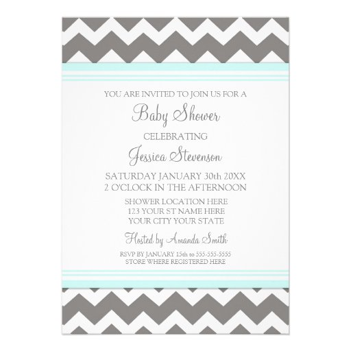blue gray chevron custom baby shower invitations 5 x 7 invitation