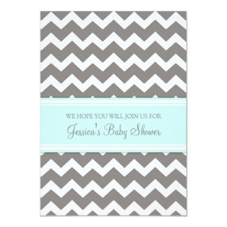 Blue Gray Chevron Custom Baby Shower Invitations