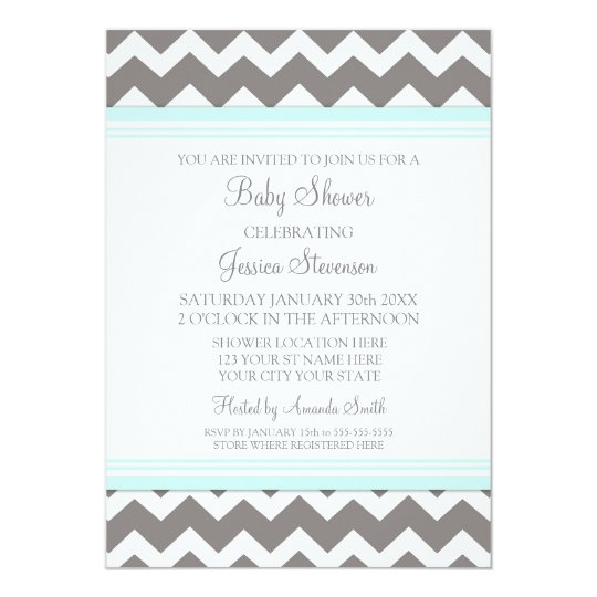 Blue Gray Chevron Custom Baby Shower Invitations