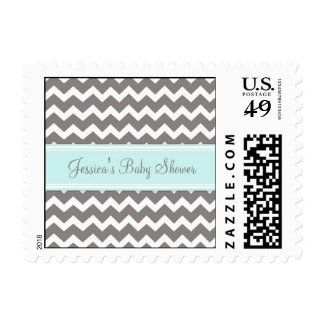 Blue Gray Chevron Custom Baby Shower Stamps